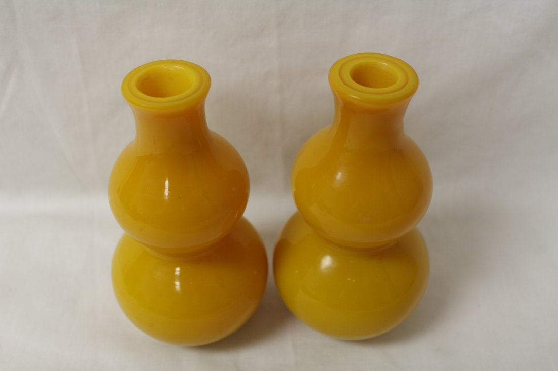 Pair yellow Peking glass vase in gourd shape - 6