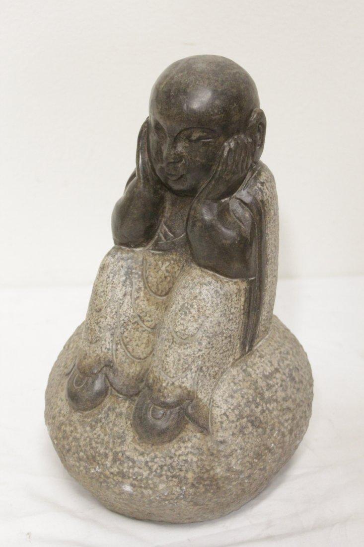 Pair Chinese stone carved seated Buddha - 3