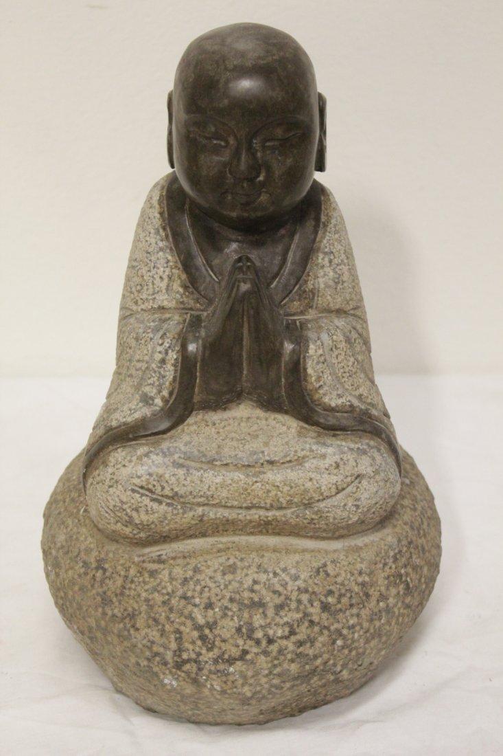 Pair Chinese stone carved seated Buddha - 6