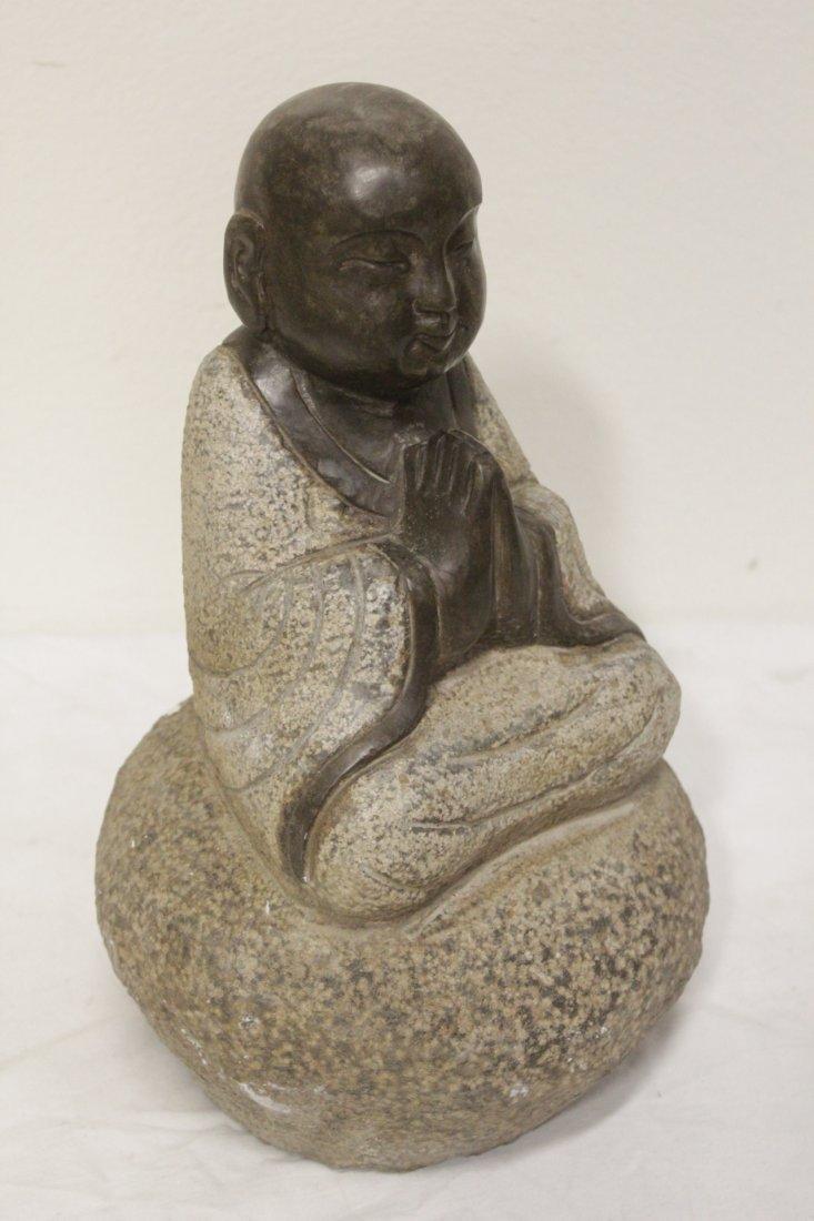 Pair Chinese stone carved seated Buddha - 7
