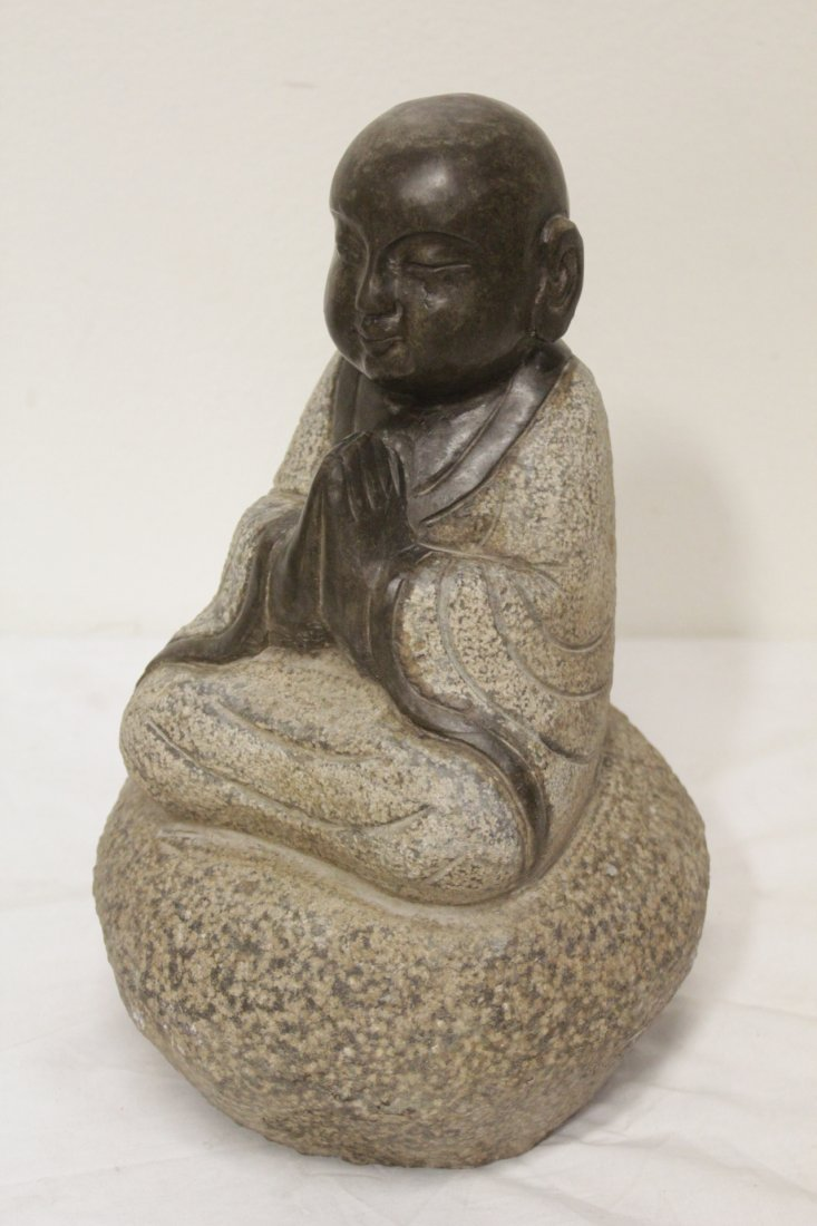 Pair Chinese stone carved seated Buddha - 8