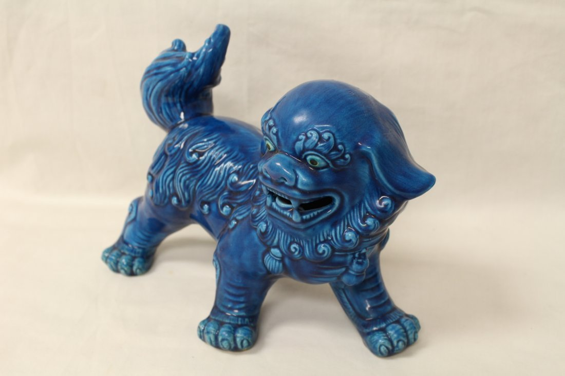 Pair Chinese blue glazed fulion - 3