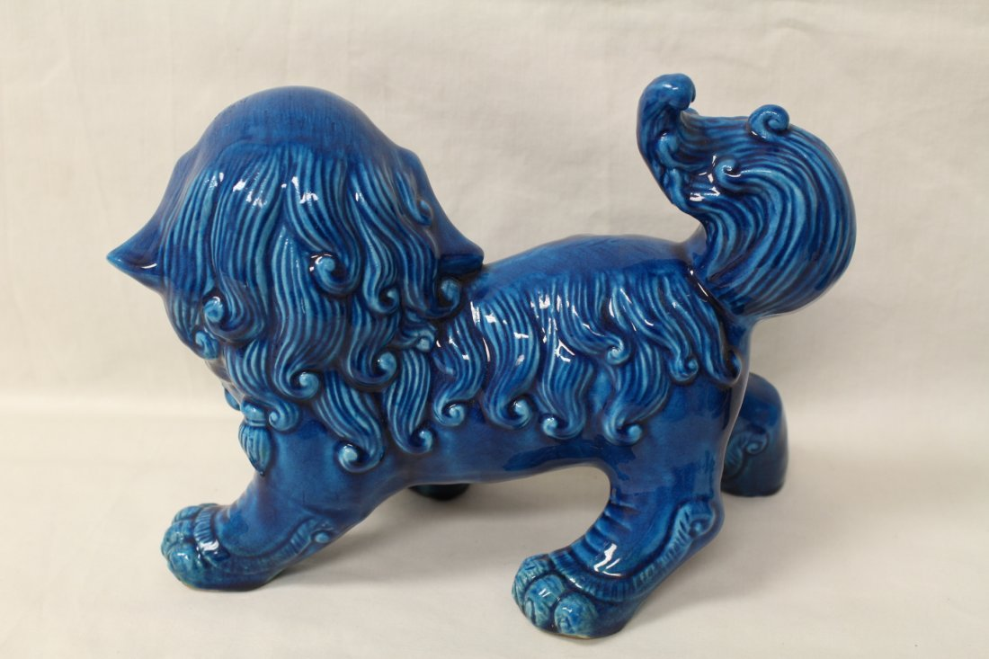 Pair Chinese blue glazed fulion - 4