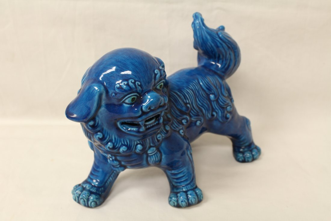 Pair Chinese blue glazed fulion - 7