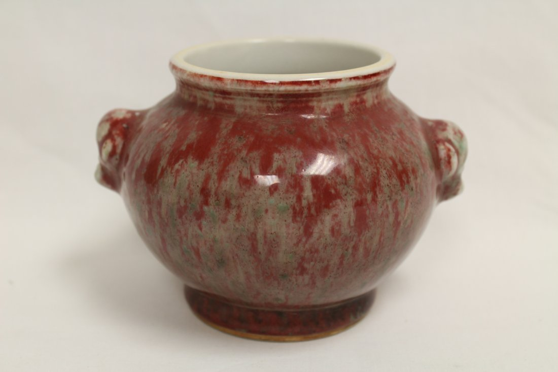Chinese copper red glazed small jar