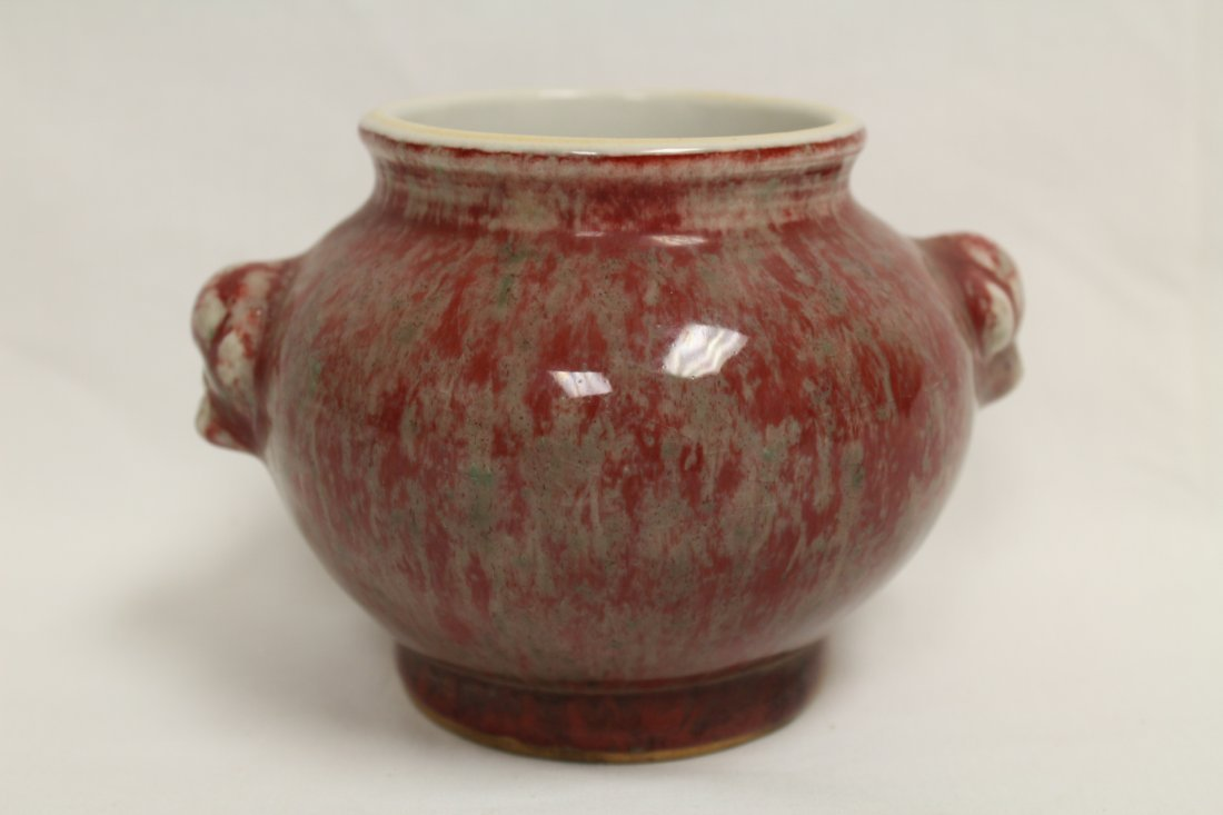 Chinese copper red glazed small jar - 3