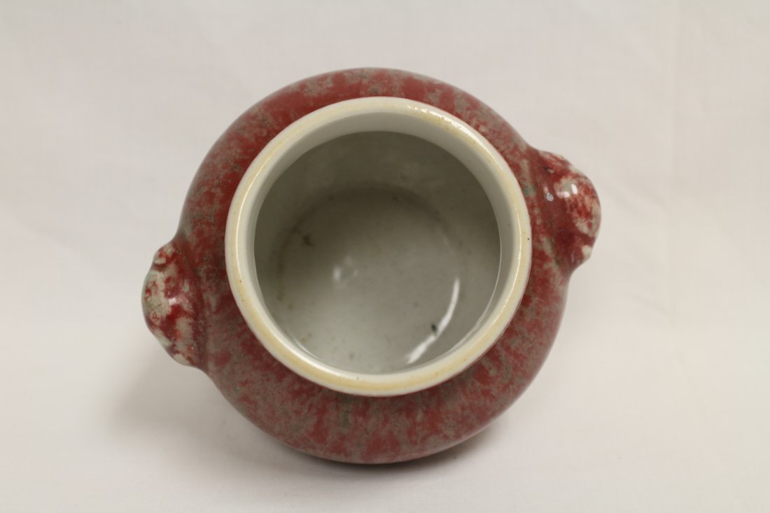 Chinese copper red glazed small jar - 5