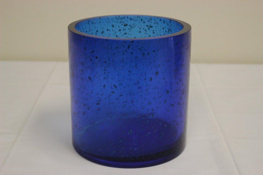 Chinese blue Peking glass brush holder