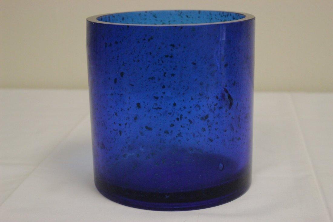 Chinese blue Peking glass brush holder - 2
