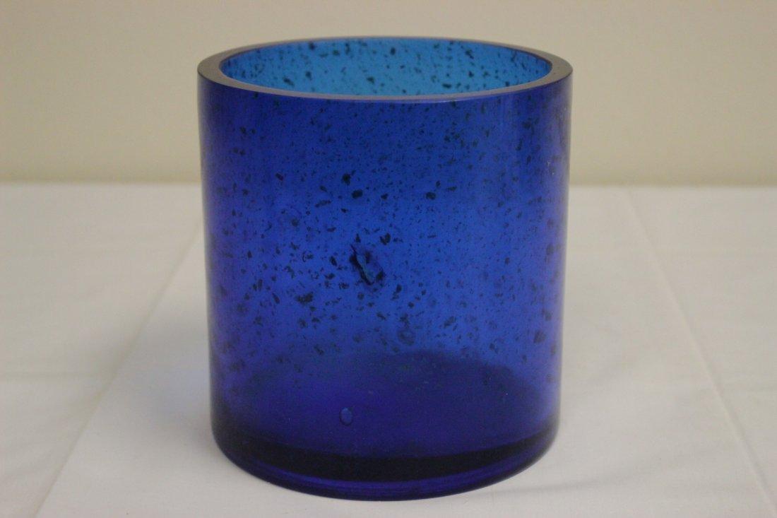 Chinese blue Peking glass brush holder - 3