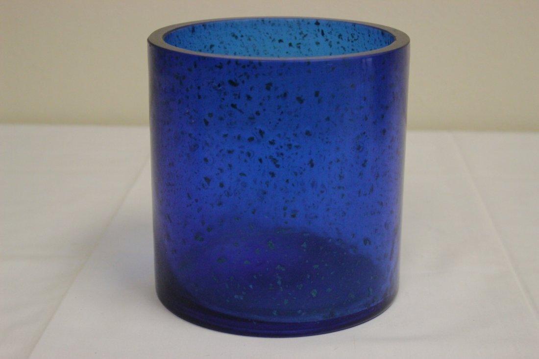 Chinese blue Peking glass brush holder - 4