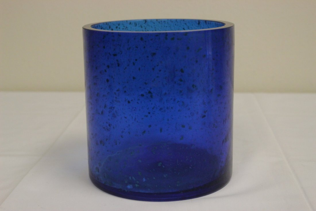 Chinese blue Peking glass brush holder - 5
