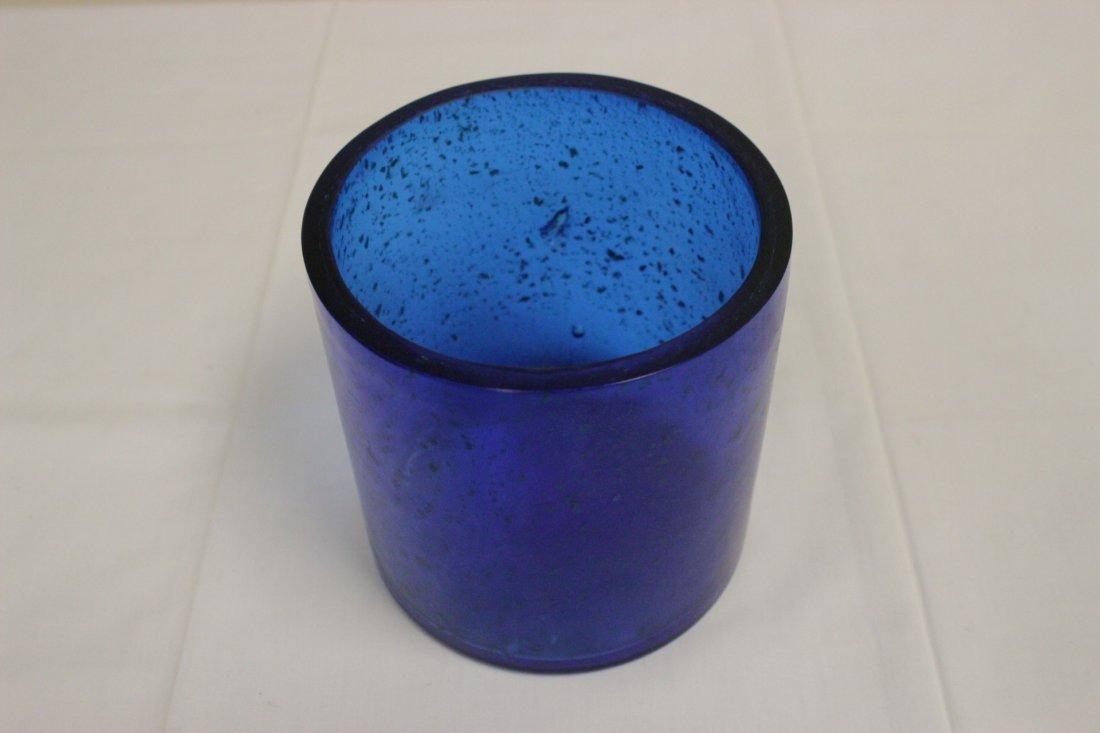 Chinese blue Peking glass brush holder - 6