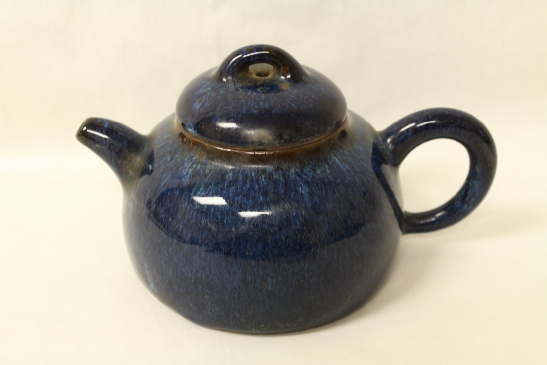 Unusual blue glazed Yixing teapot
