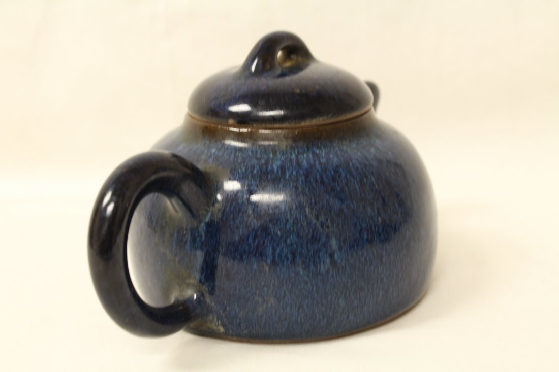 Unusual blue glazed Yixing teapot - 3