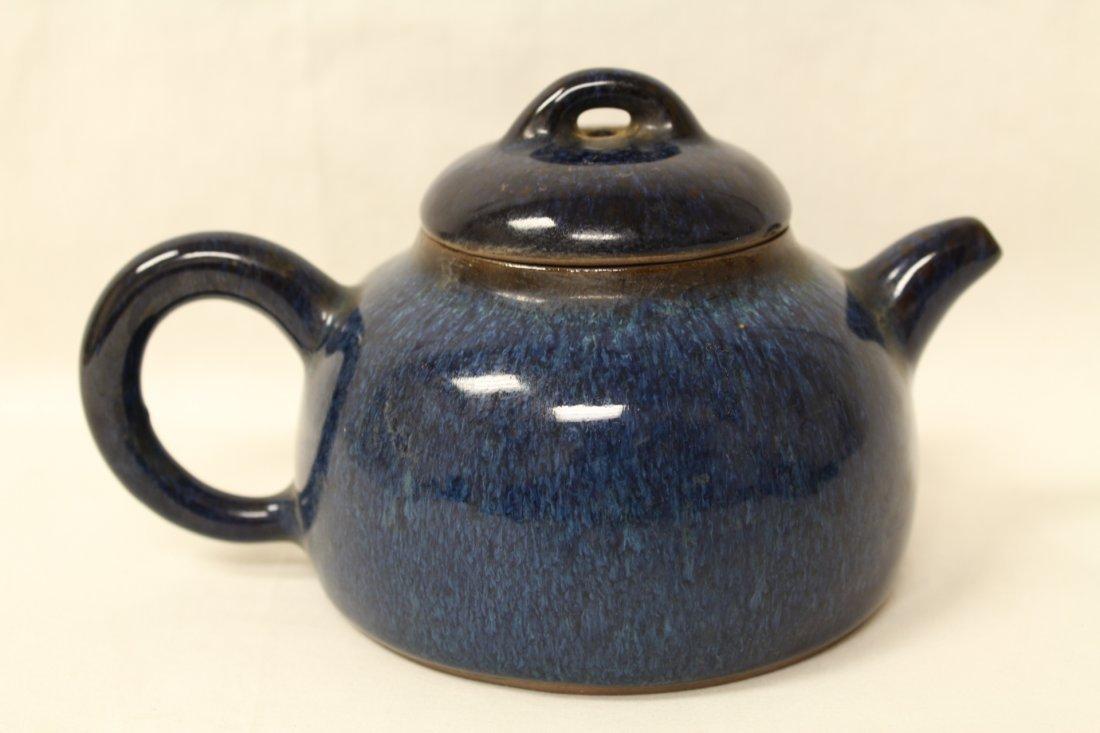 Unusual blue glazed Yixing teapot - 4