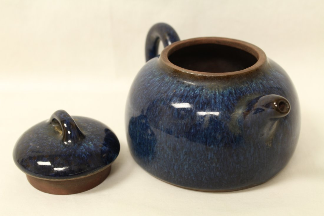 Unusual blue glazed Yixing teapot - 5