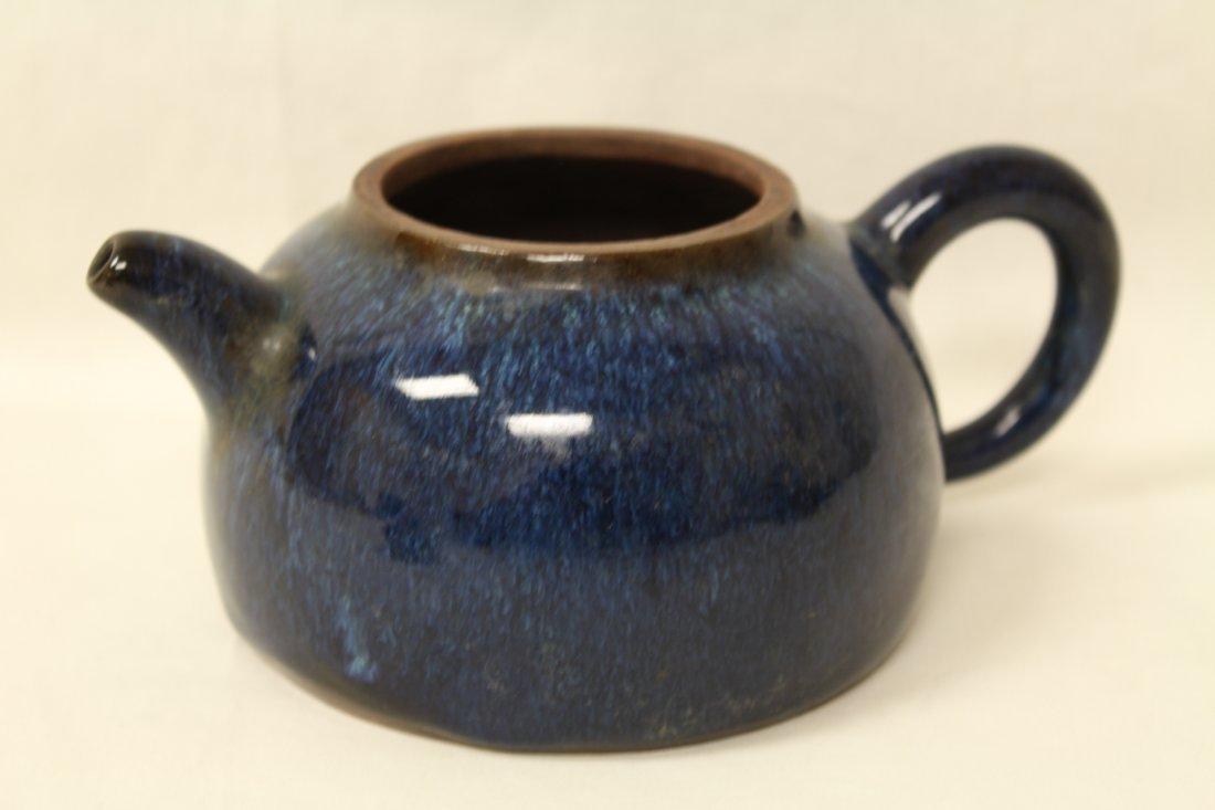 Unusual blue glazed Yixing teapot - 6