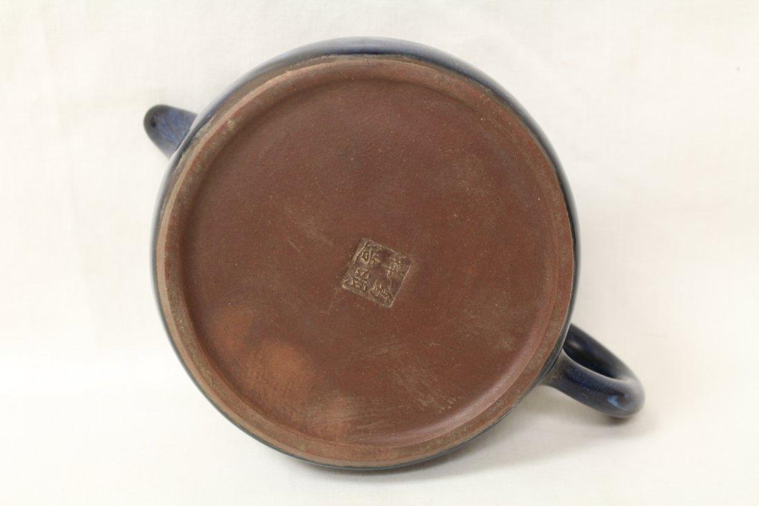 Unusual blue glazed Yixing teapot - 8