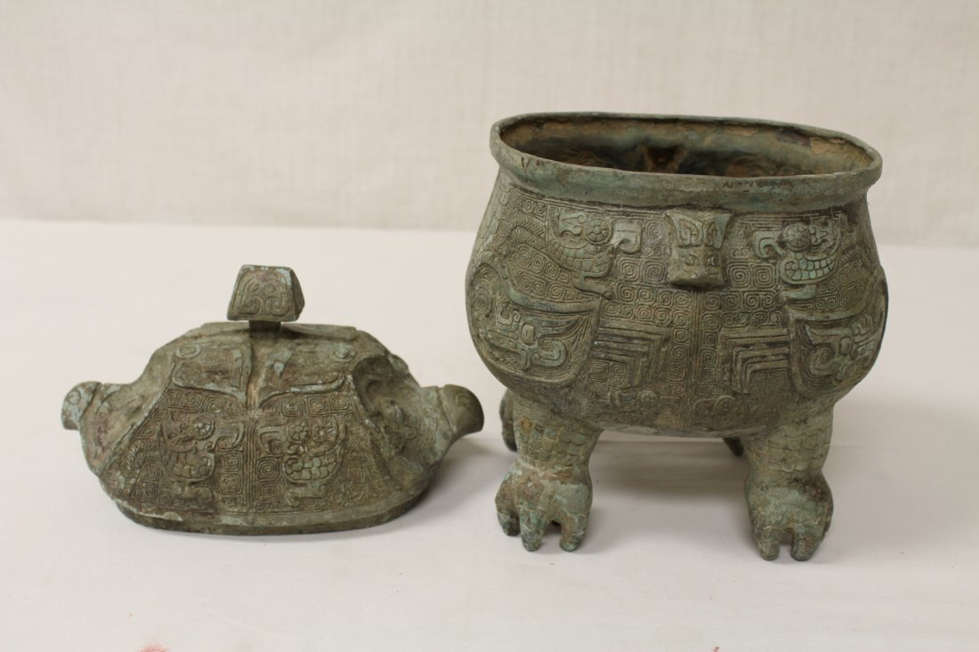 Chinese bronze covered ding in the form of bird - 2