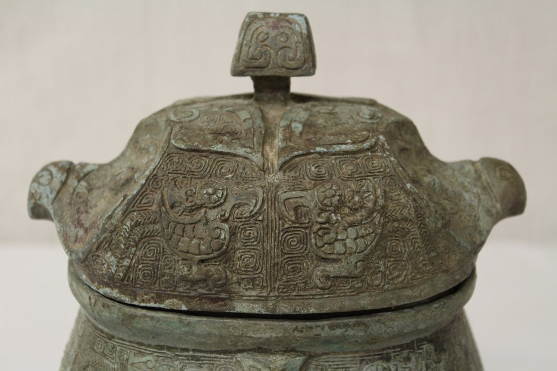 Chinese bronze covered ding in the form of bird - 3