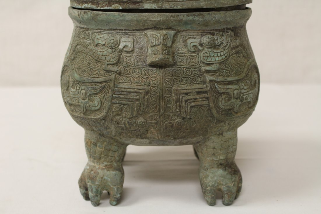 Chinese bronze covered ding in the form of bird - 4