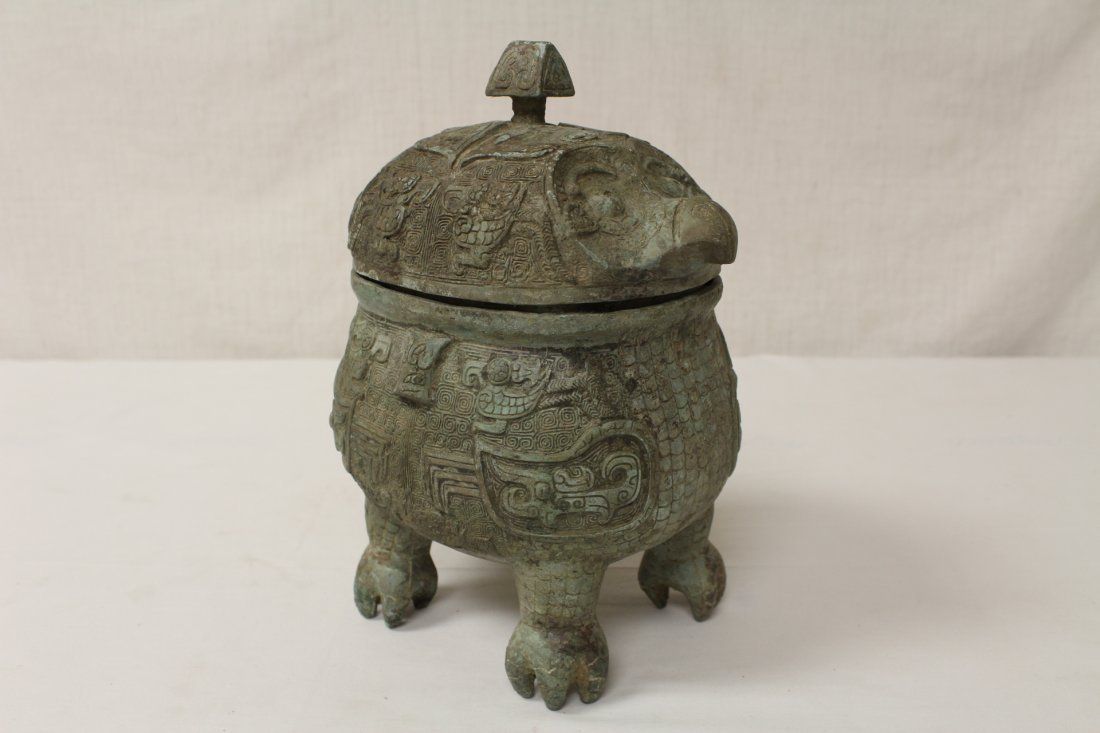 Chinese bronze covered ding in the form of bird - 5