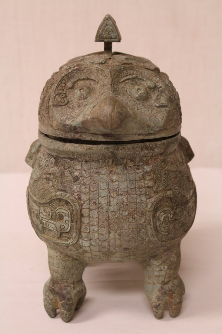 Chinese bronze covered ding in the form of bird - 6
