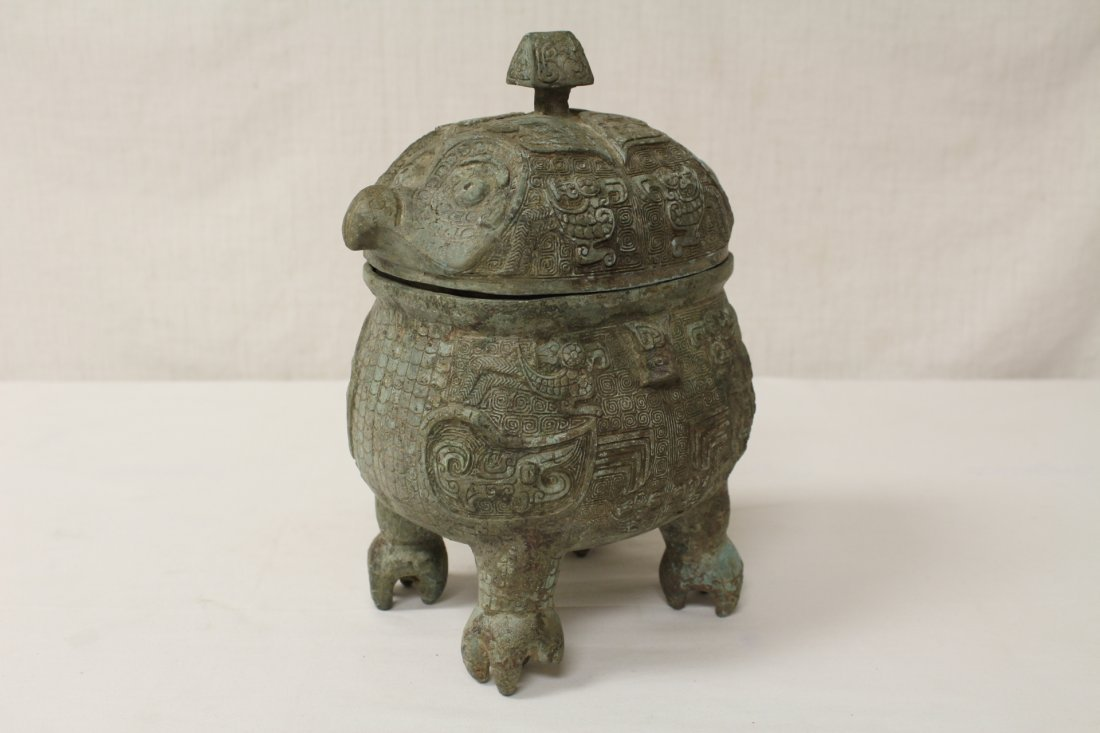 Chinese bronze covered ding in the form of bird - 7