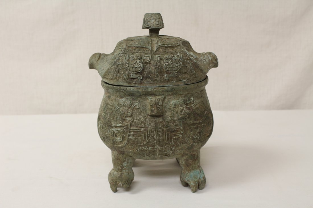 Chinese bronze covered ding in the form of bird - 8