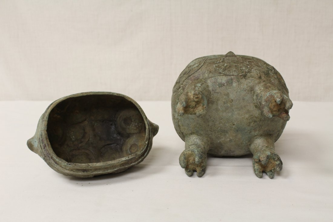 Chinese bronze covered ding in the form of bird - 9
