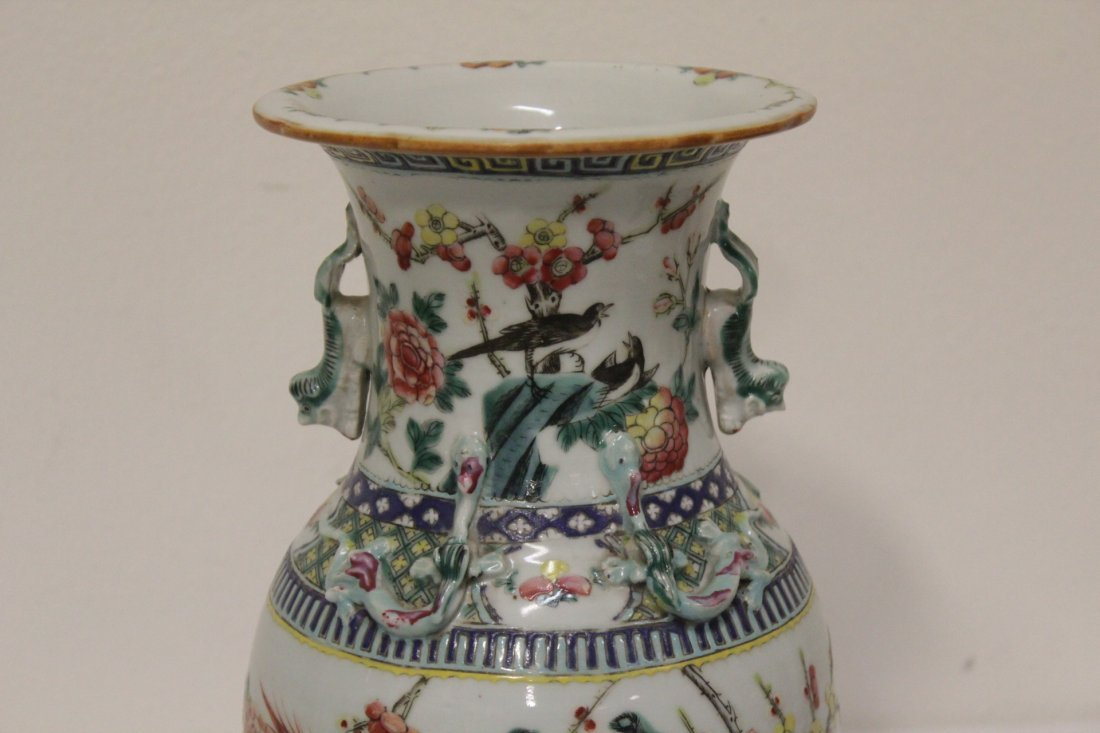 Antique Chinese famille rose vase - 3