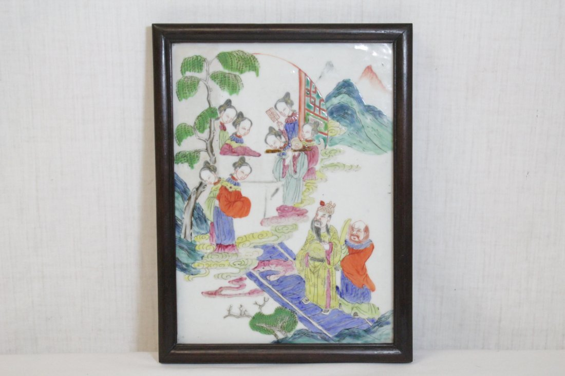 Chinese antique famille rose porcelain plaque