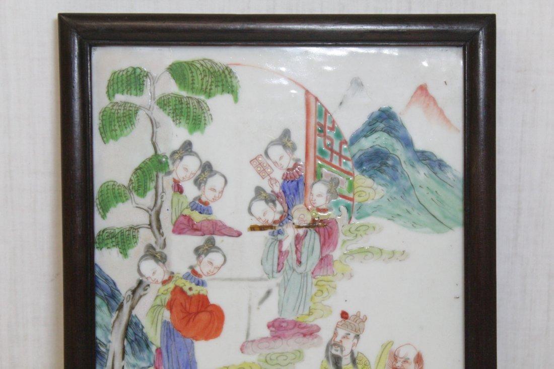 Chinese antique famille rose porcelain plaque - 2