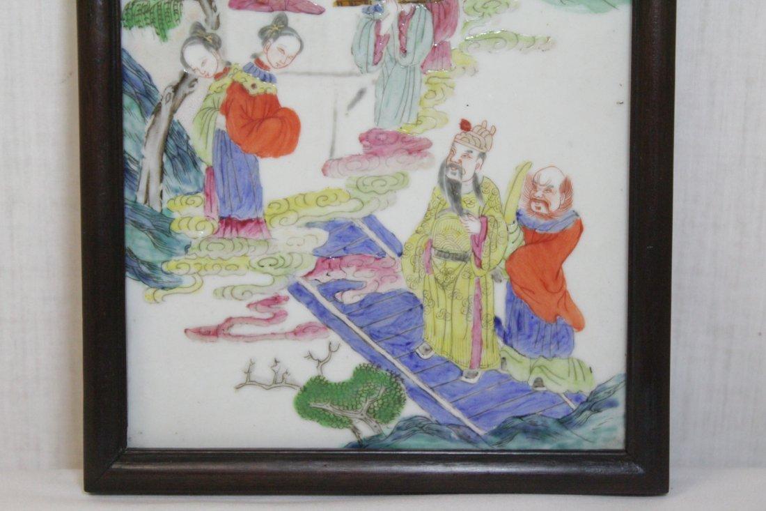 Chinese antique famille rose porcelain plaque - 3