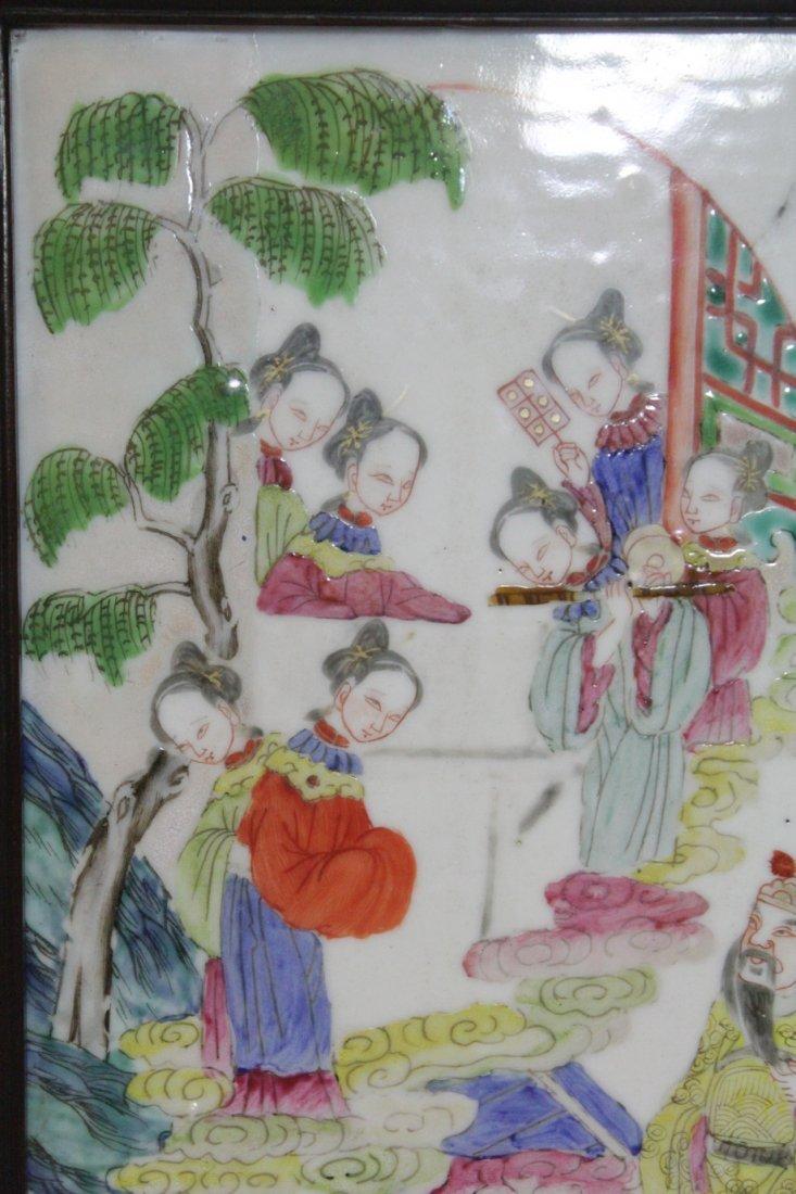 Chinese antique famille rose porcelain plaque - 4