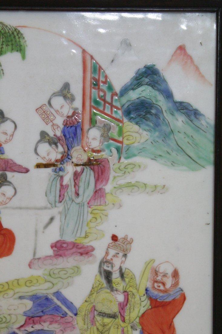 Chinese antique famille rose porcelain plaque - 5