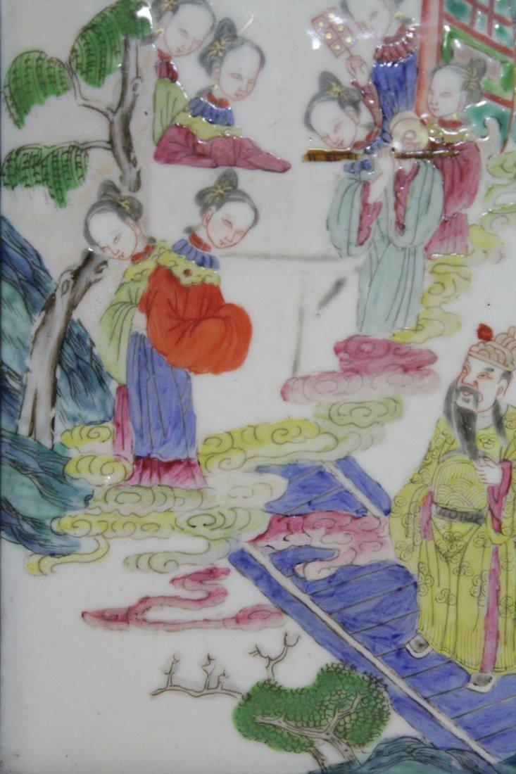Chinese antique famille rose porcelain plaque - 7