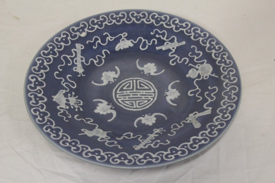 Chinese blue background porcelain plate