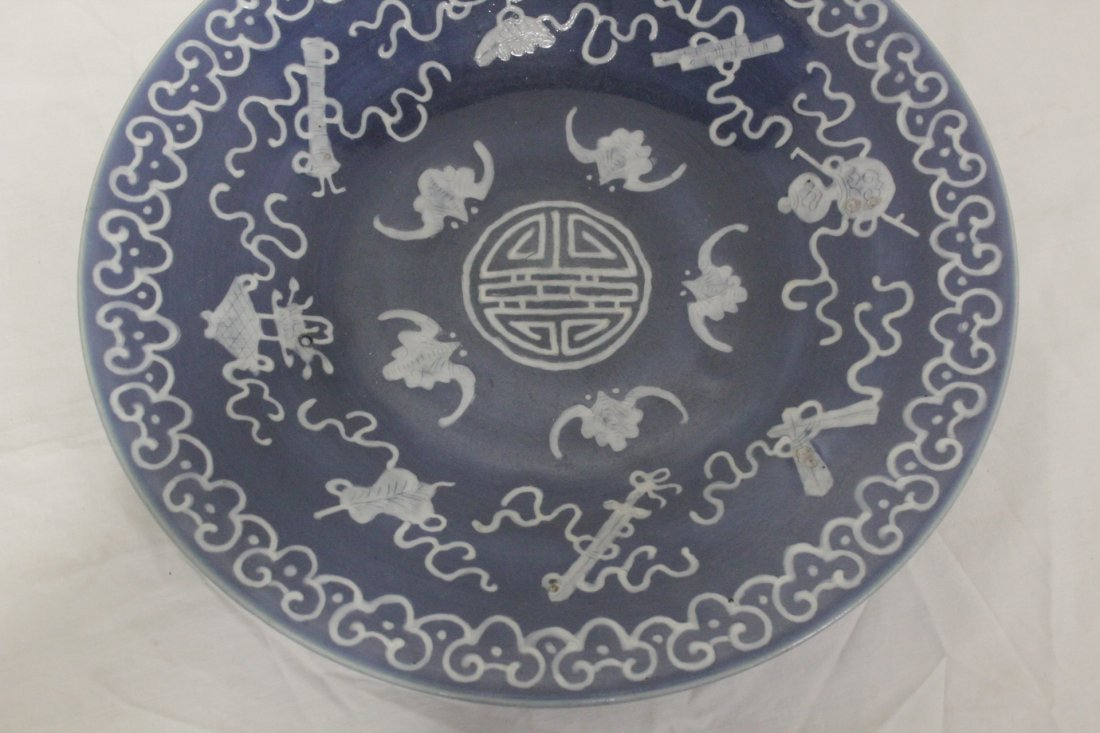 Chinese blue background porcelain plate - 4