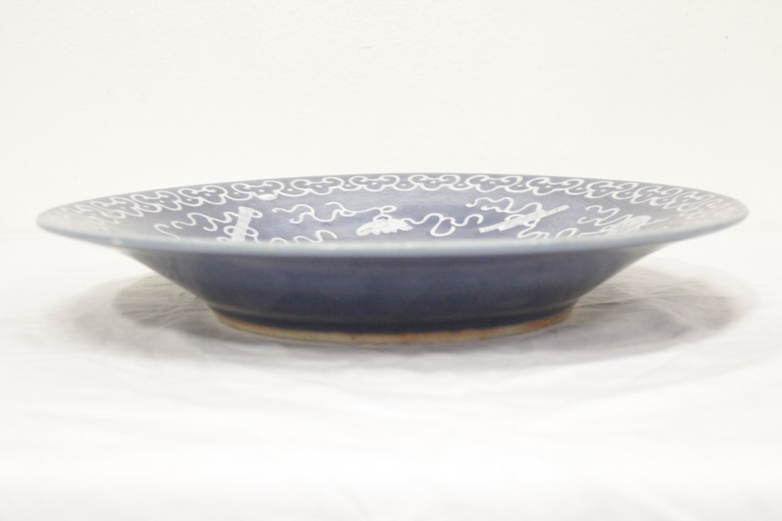 Chinese blue background porcelain plate - 7