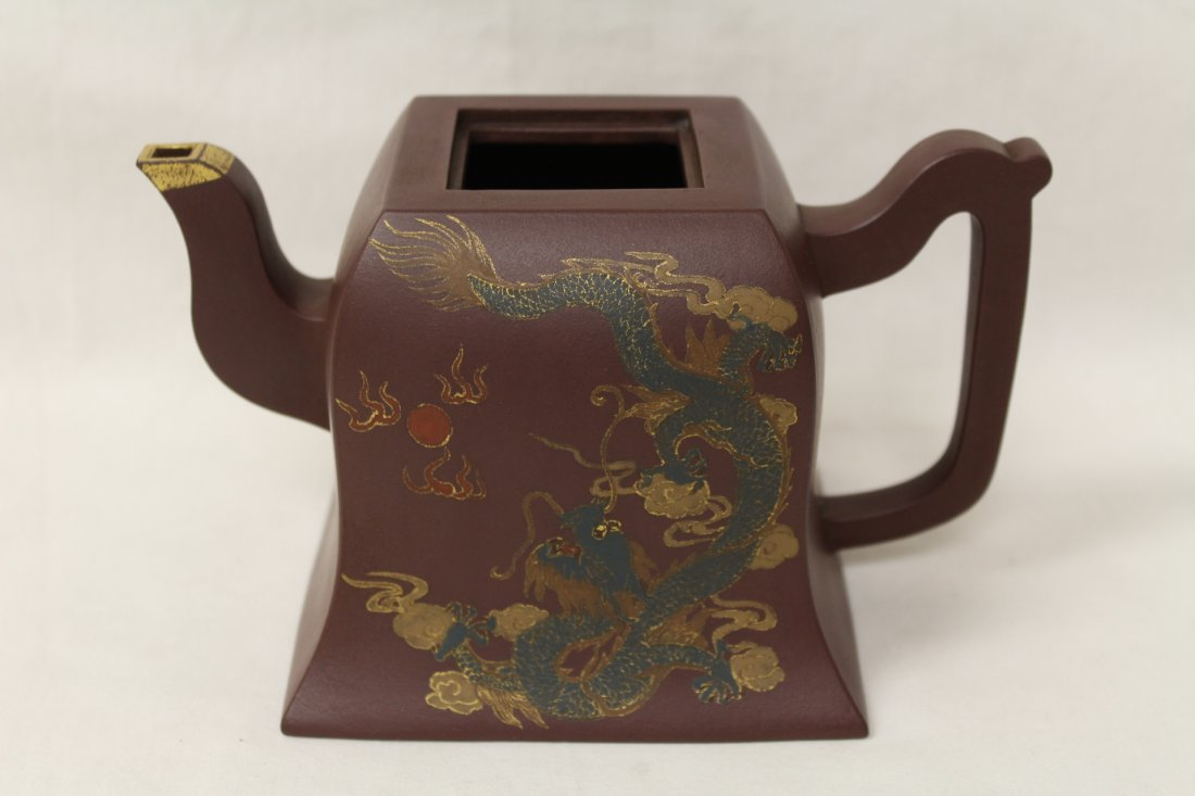 2 Chinese Yixing clay teapots - 4