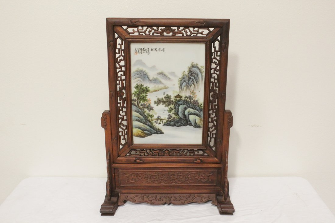 Chinese framed famille rose plaque on stand