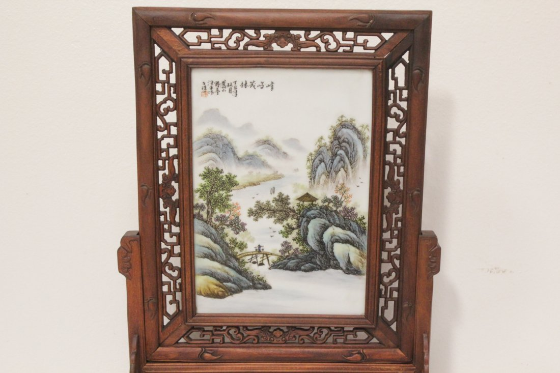 Chinese framed famille rose plaque on stand - 2