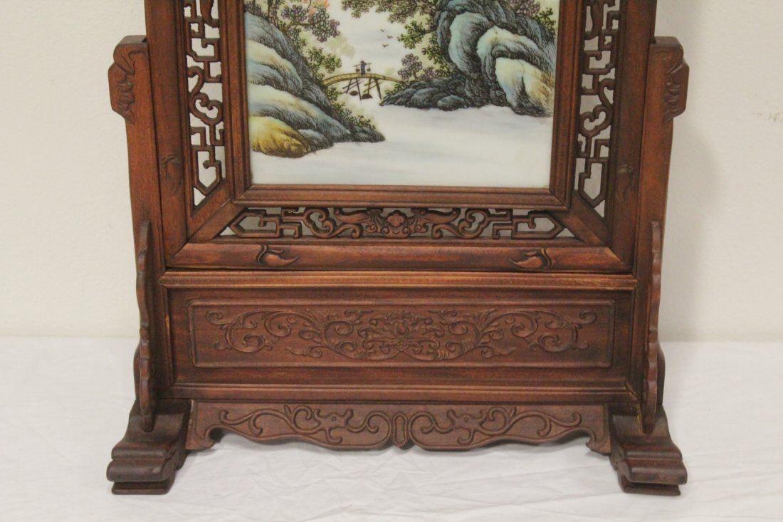 Chinese framed famille rose plaque on stand - 3