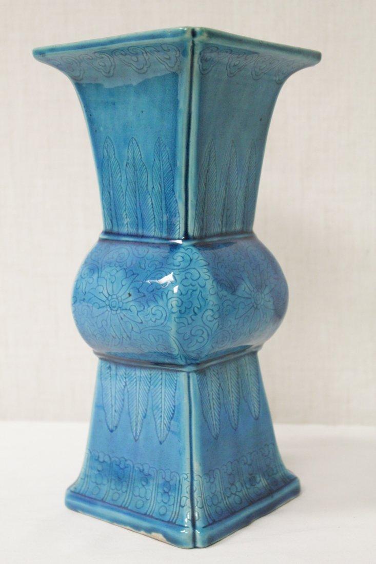 Chinese vintage turquoise glazed porcelain vase - 10