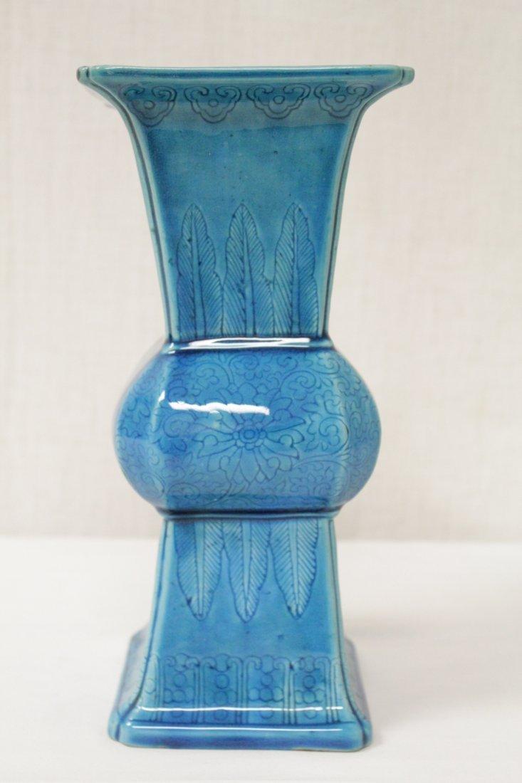 Chinese vintage turquoise glazed porcelain vase - 2