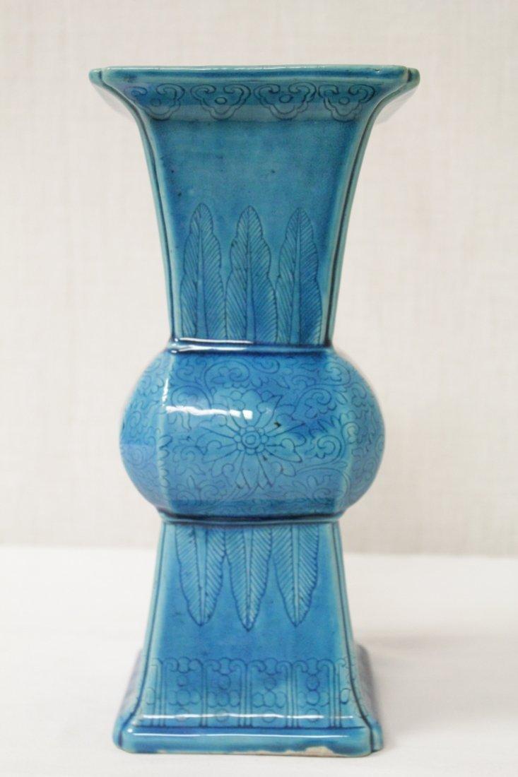 Chinese vintage turquoise glazed porcelain vase - 3