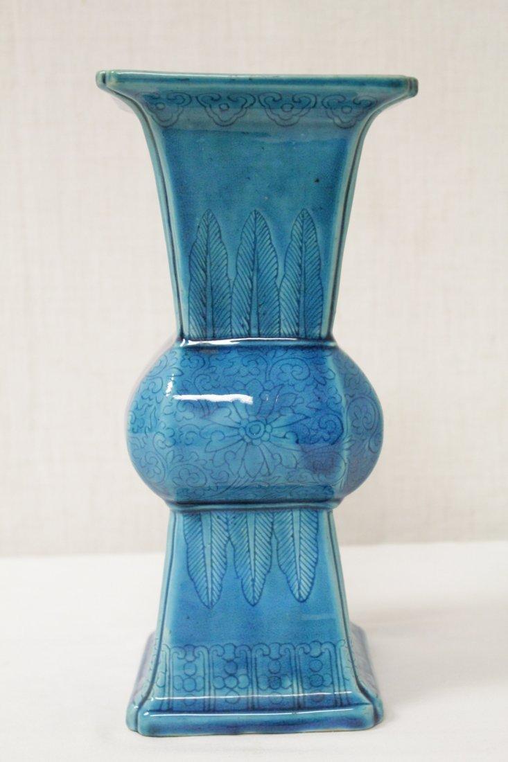 Chinese vintage turquoise glazed porcelain vase - 4