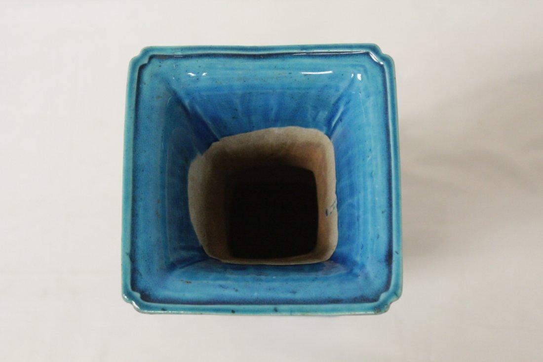 Chinese vintage turquoise glazed porcelain vase - 5